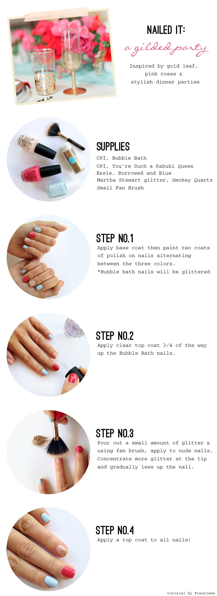 pink blue gold glittered nail tutorial {Nailed It} A Gilded Party