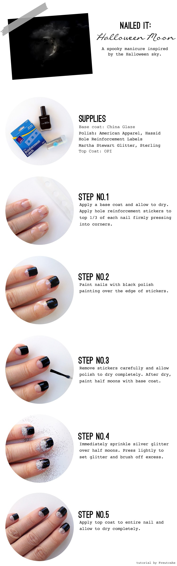 glittered half moon nail tutorial Glittered Half Moon Nails