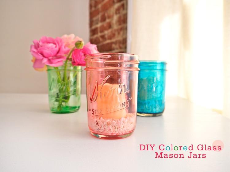 DIY Colored Glass Mason Jars