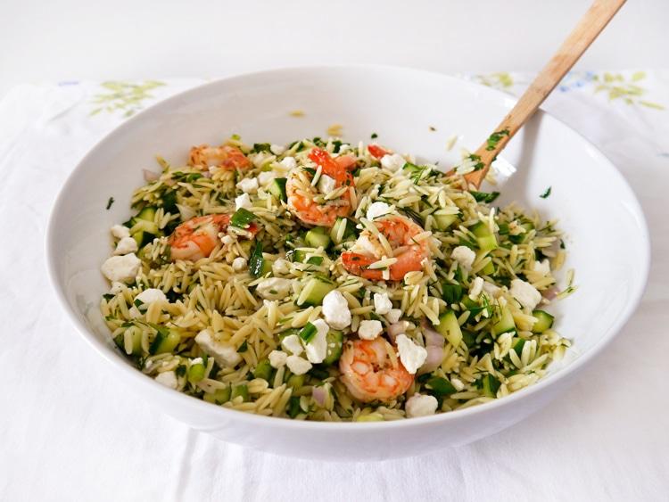 Lemon Shrimp with Garlic, Herbs & Orzo Salad   Freutcake