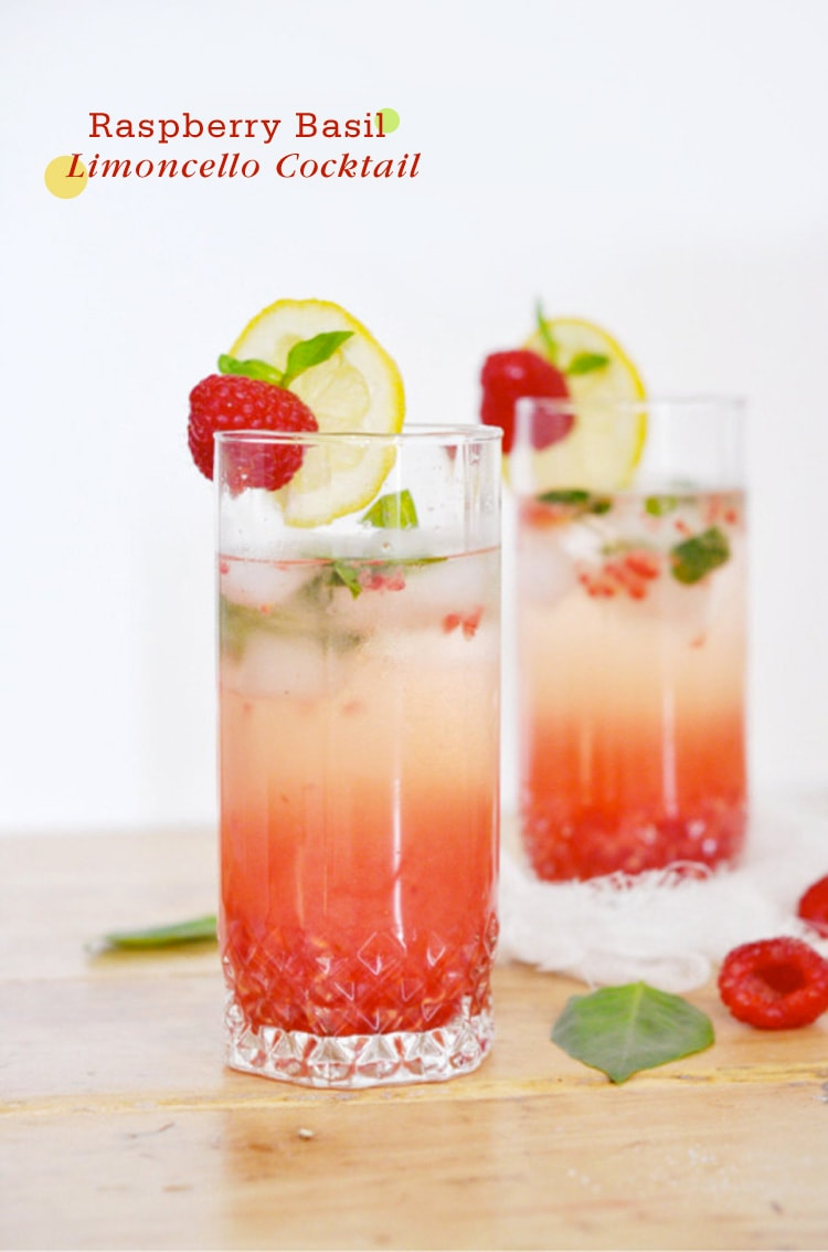 Raspberry Basil Limoncello Cocktail {Cocktail Friday} Raspberry Basil Limoncello