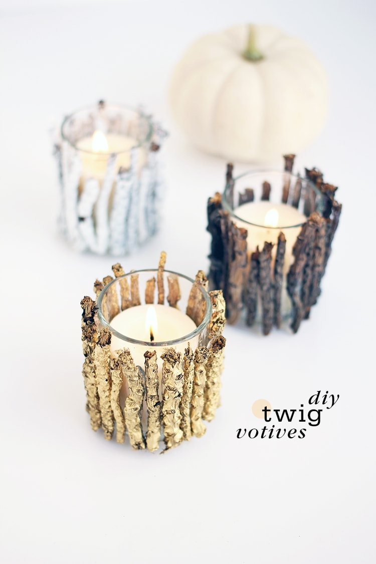 Diy twig votive candle holders for How to make glass candle holders