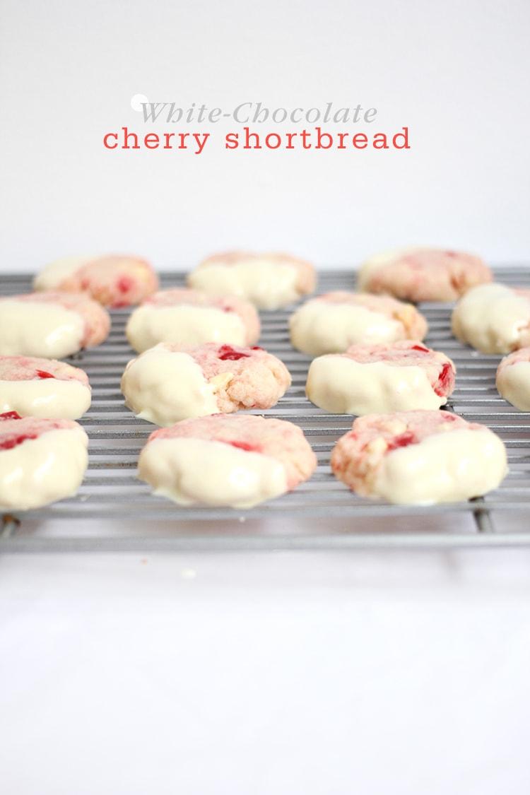 White-Chocolate Cherry Shortbread Cookies