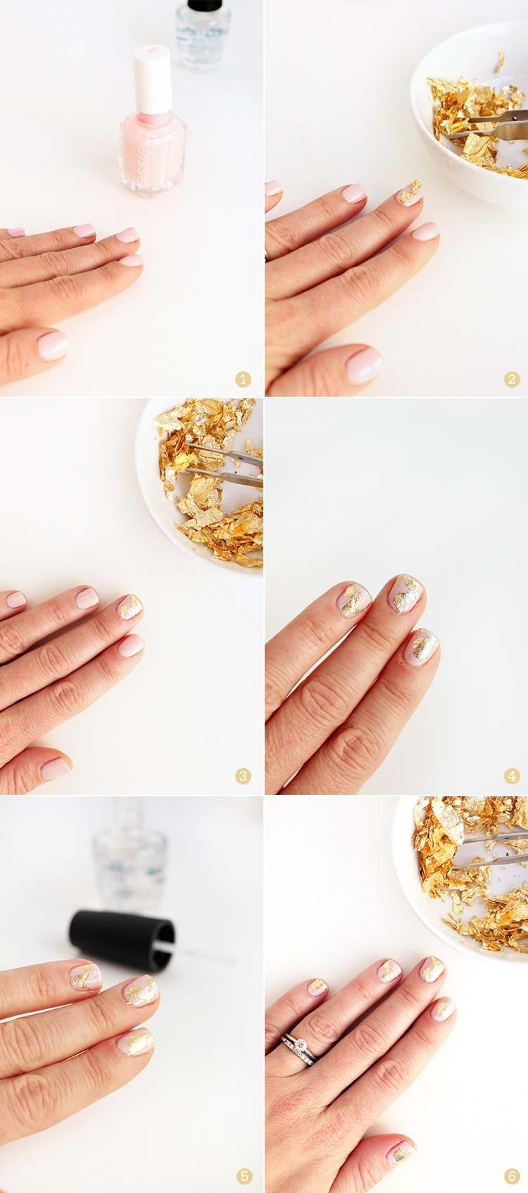 Gold Foil Nail tutorial Steps Gold Foiled Nail Tutorial