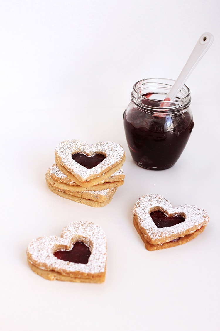 Raspberry Linzer Heart Cookies