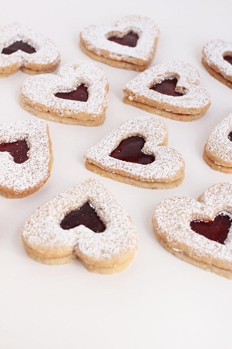 Raspberry Linzer Heart Cookies
