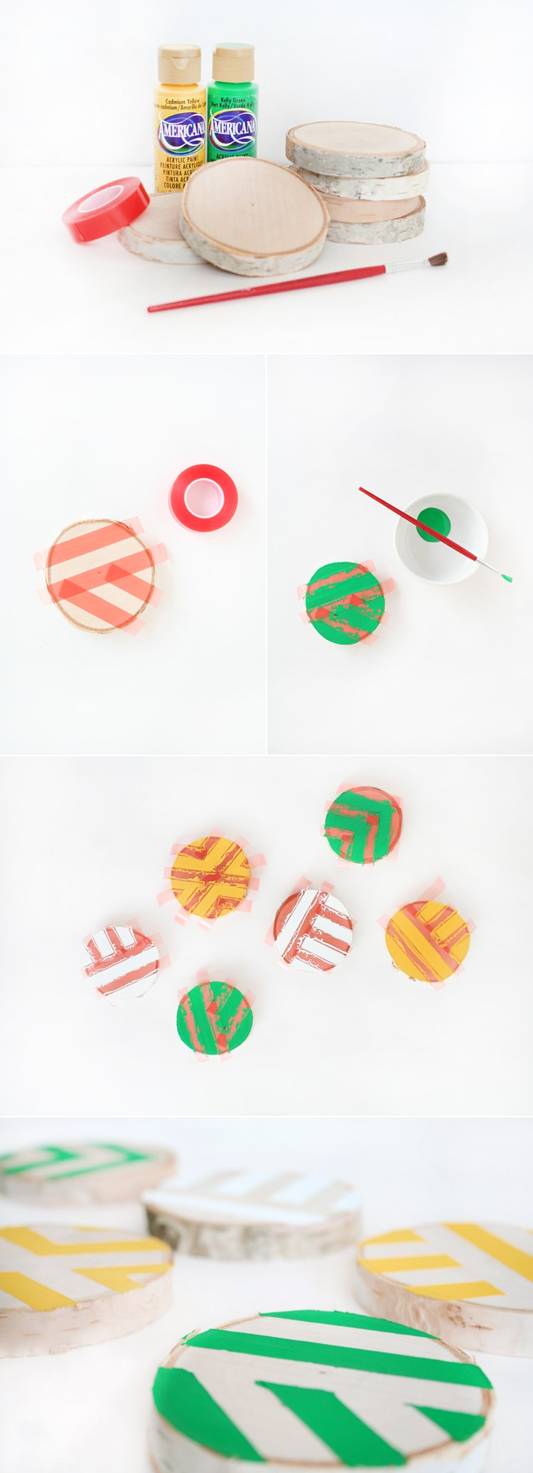 Steps DIY Painted Wooden Coasters