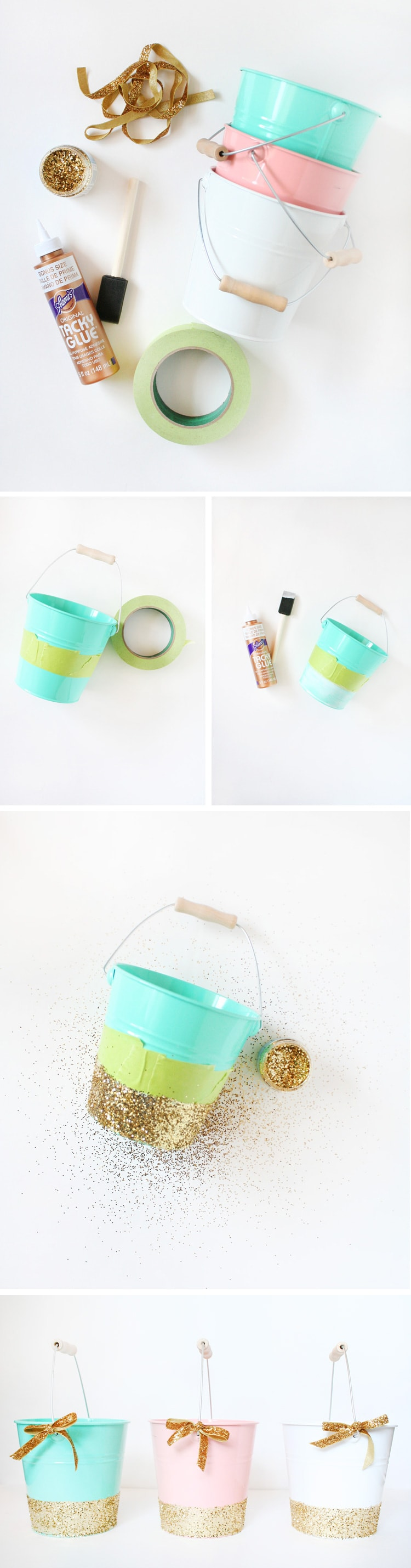 steps DIY Glittered Easter Pails
