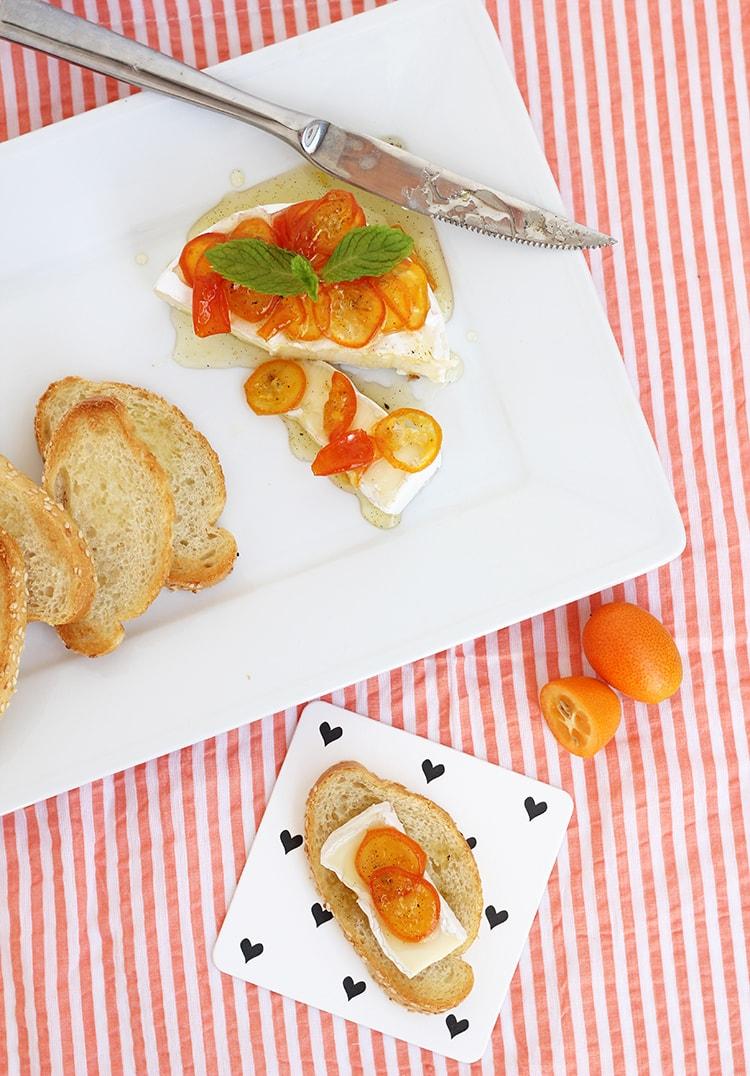 Brie with Kumquat Jam Crostini