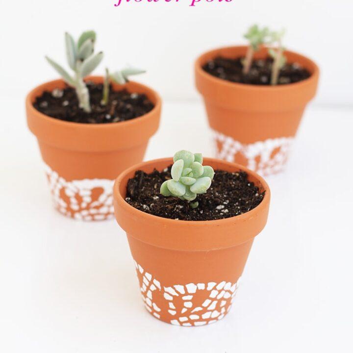 Painted Doily Flower Pots