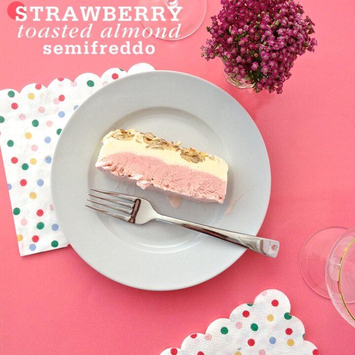 Strawberry Toasted Almond Semifreddo