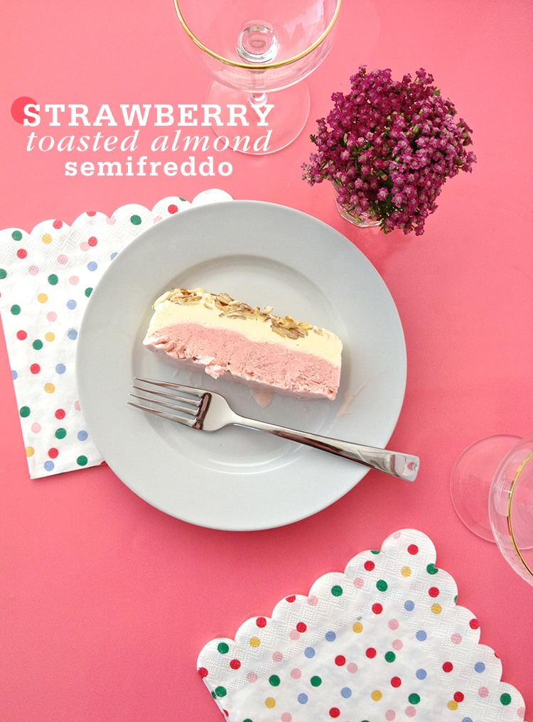 Strawberry-Toasted Almond Semifreddo