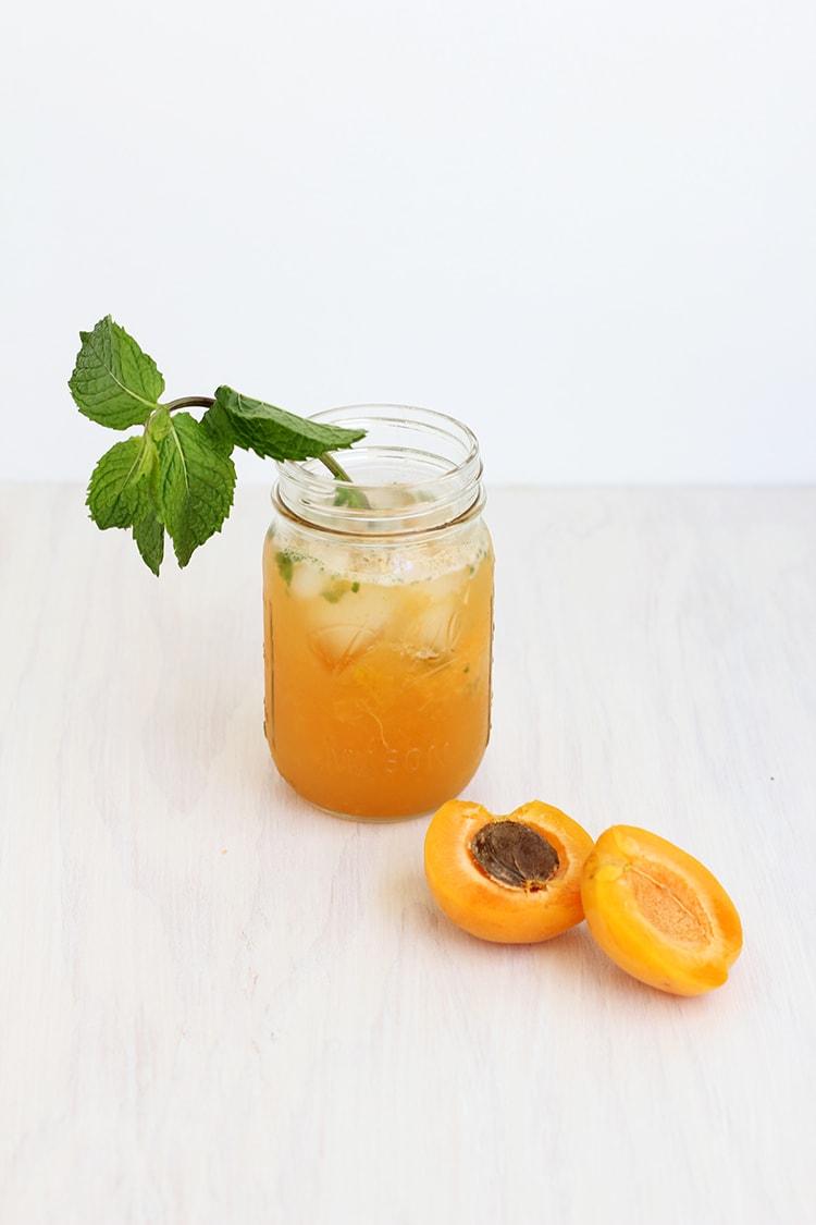Apricot Bourbon Smash Cocktail