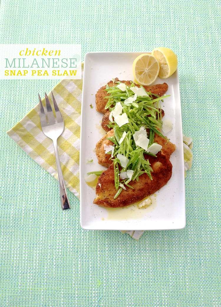 Chicken Milanese with Snap Pea Slaw Chicken Milanese with Snap Pea Slaw
