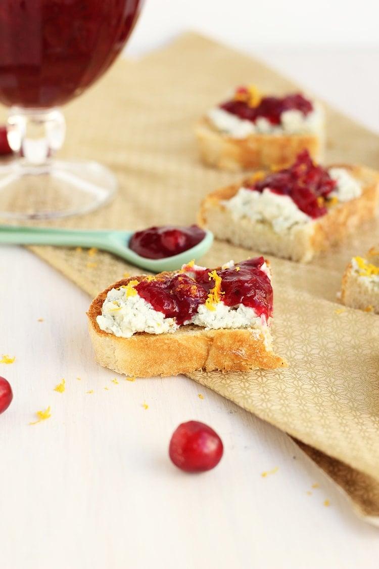 Blue cheese Cranberry Crostini