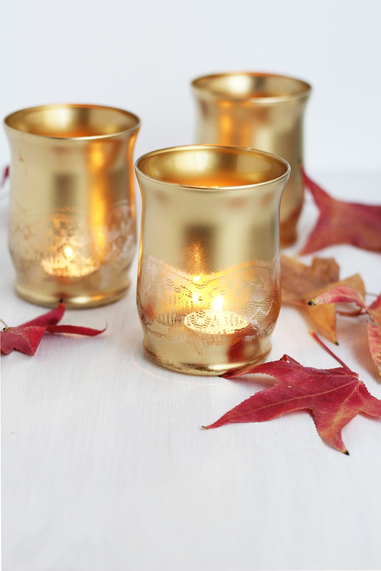 Gold lace candle holders for Homemade votive candles