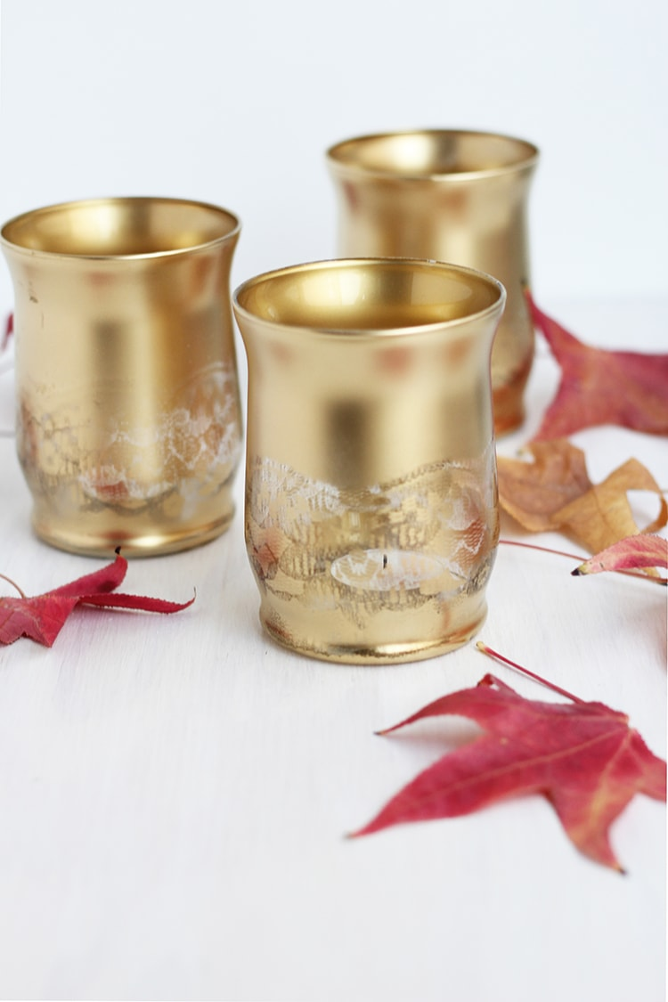 How to make Gold Lace Candle Holders