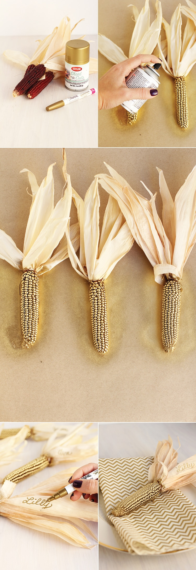 Golden Corn Place Holders How To Thanksgiving Gold Corn Place Holders