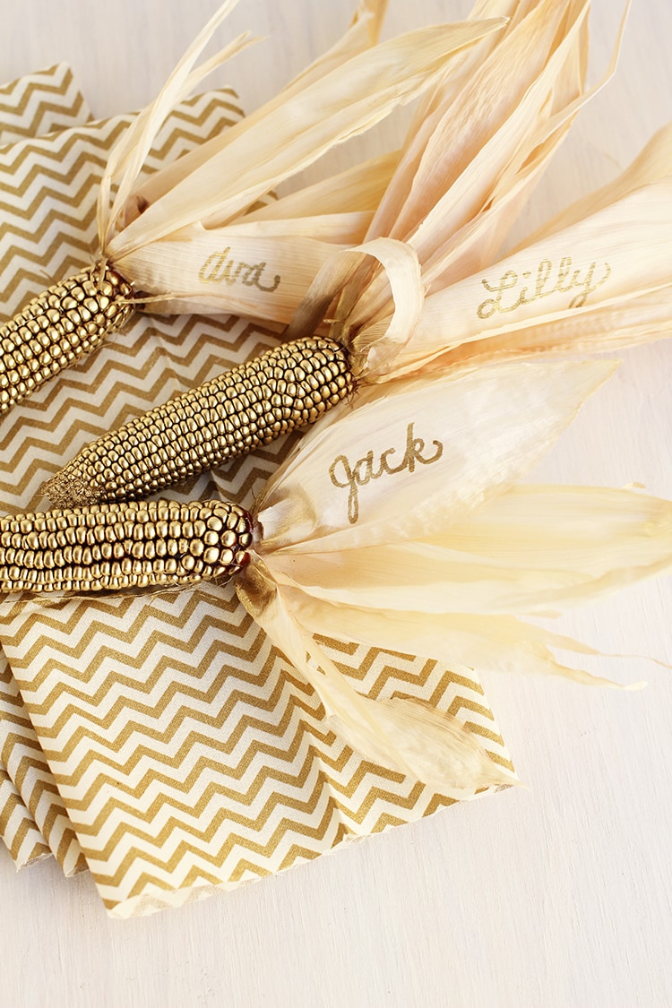 Thanksgiving Gold Corn Place Holders