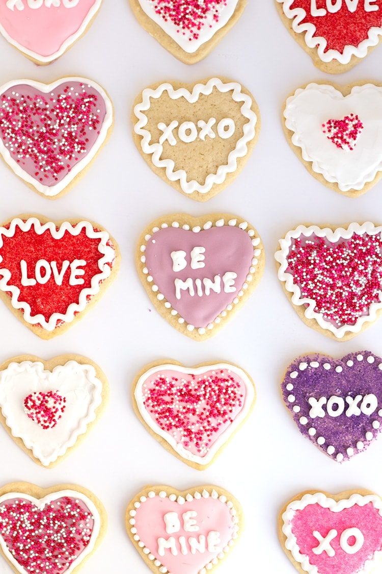 Conversation Heart Sugar Cookies | Freutcake