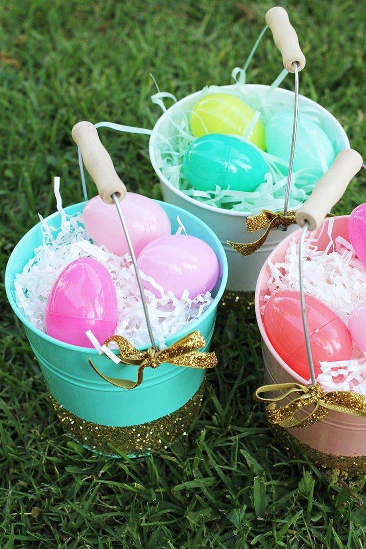 Glittered Easter Pails
