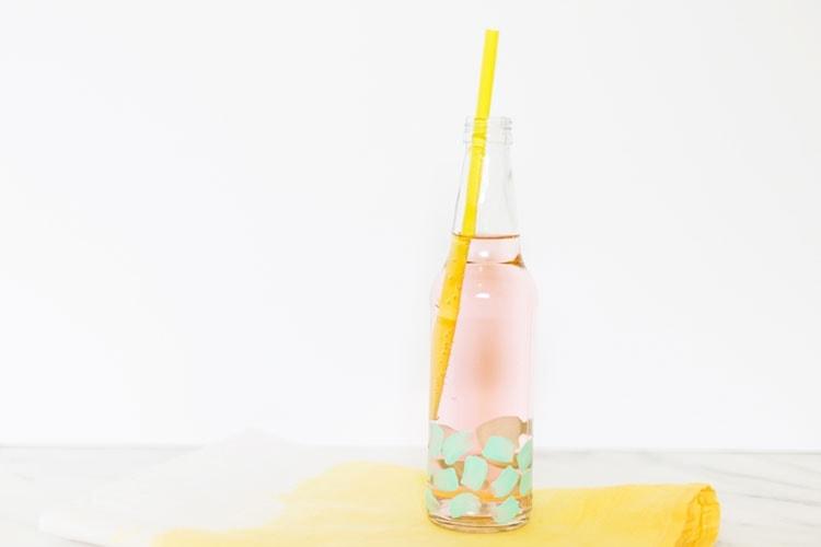 painted soda bottles