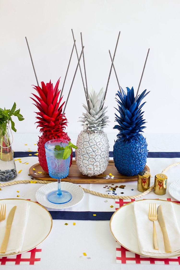 Th of july pineapple sparkler centerpieces