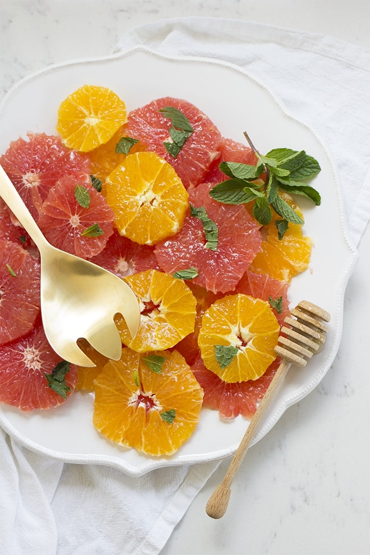 Citrus Salad with Honey & Mint - Freutcake