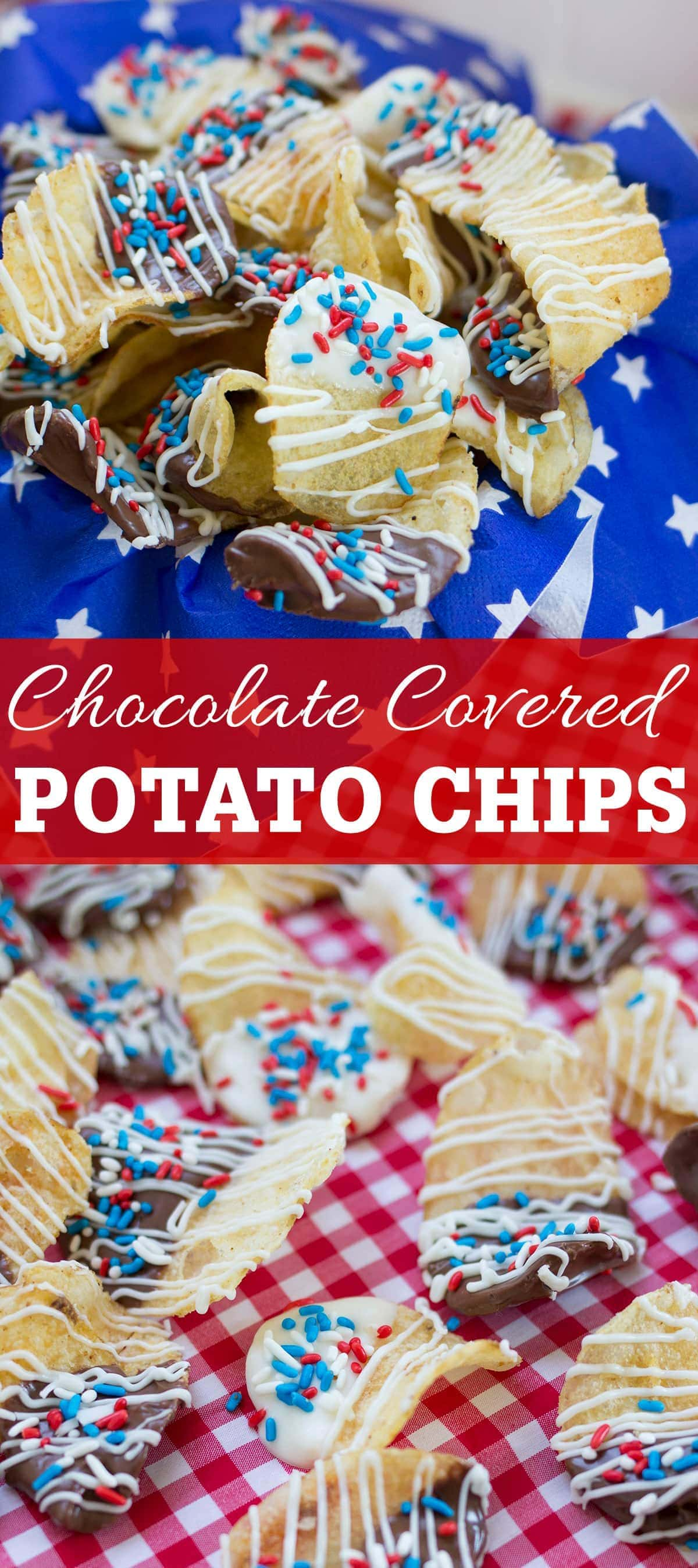 Easy 4th of July Chocolate Covered Potato Chips