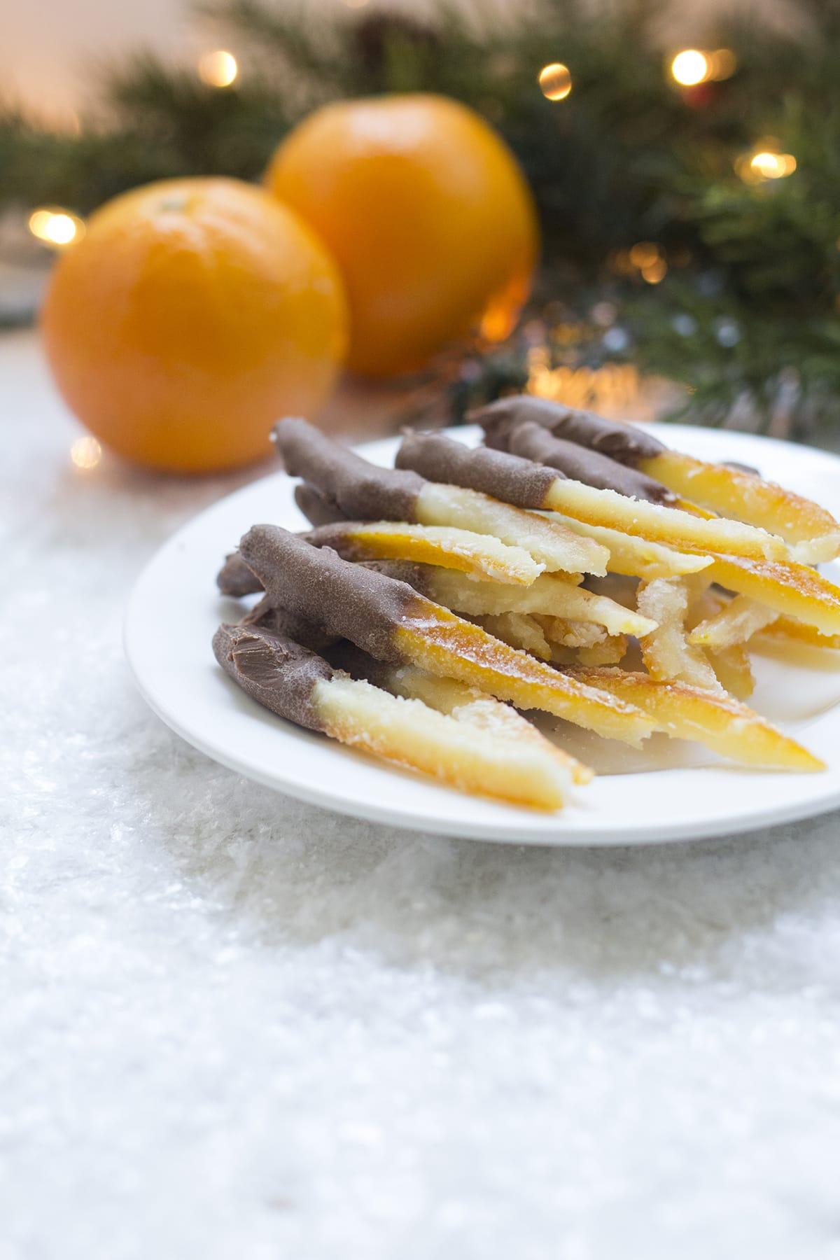 Chocolate Dipped Candied Orange Peels - Freutcake
