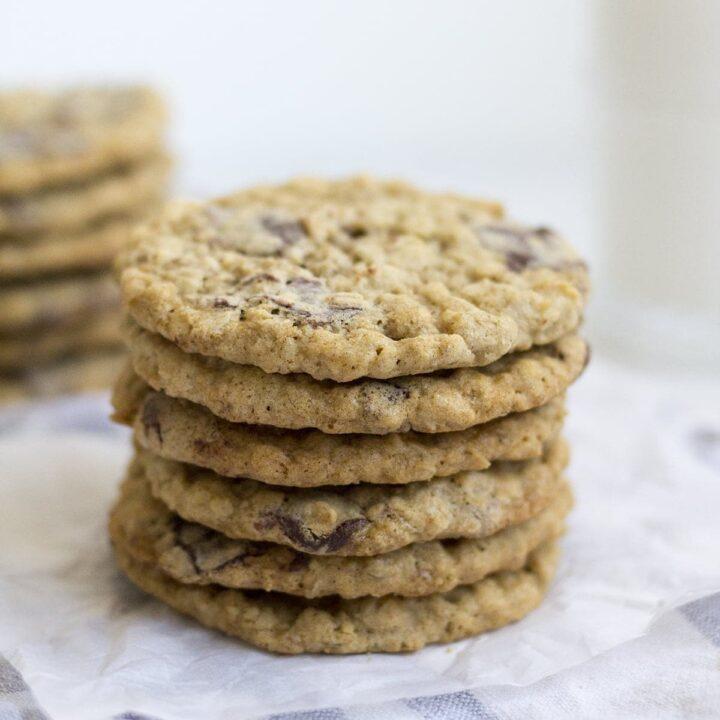 Coconut Oil Chocolate Chunk Oatmeal Cookies