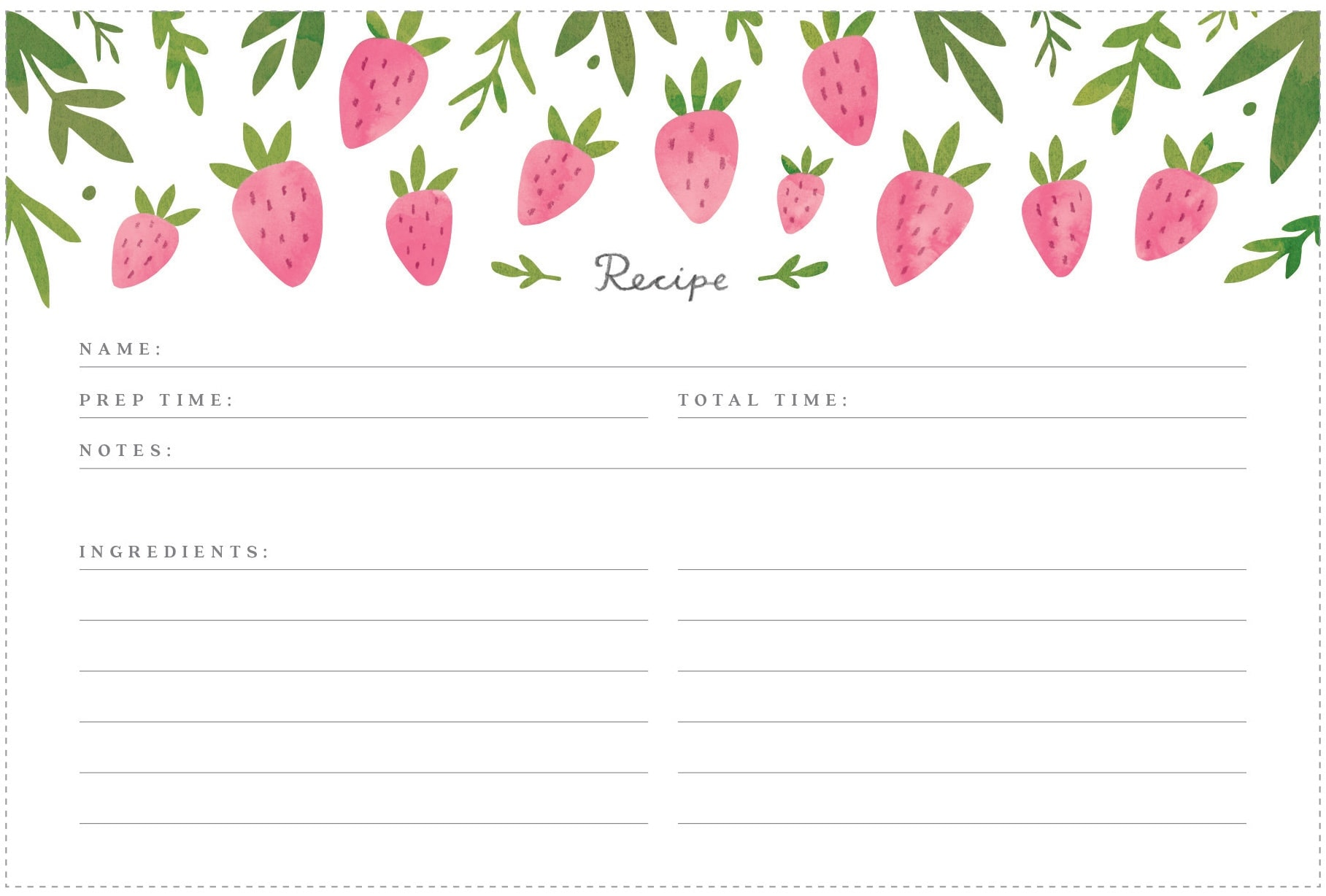 This is a photo of Versatile Free Recipe Cards by Mail