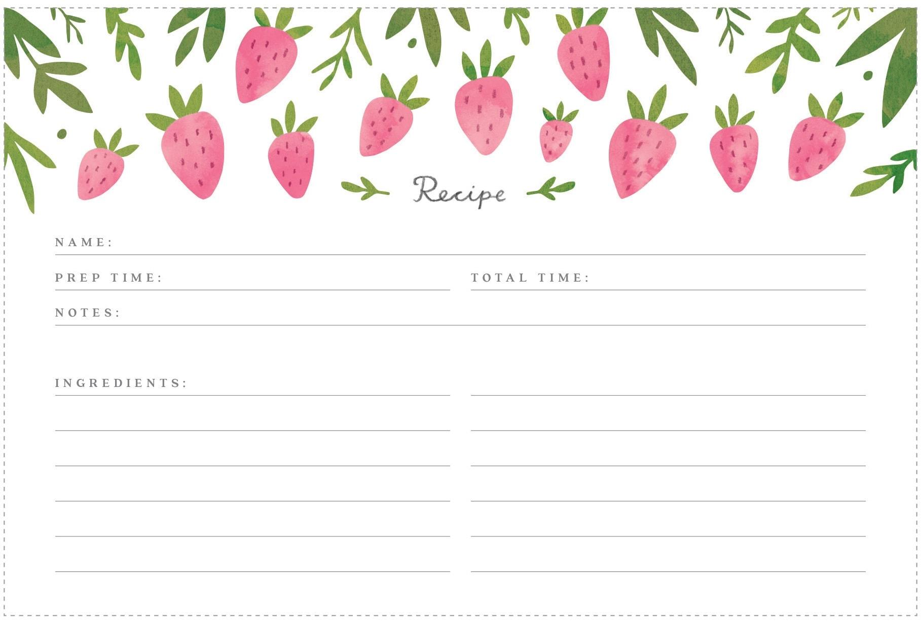 February Printable Recipe Card