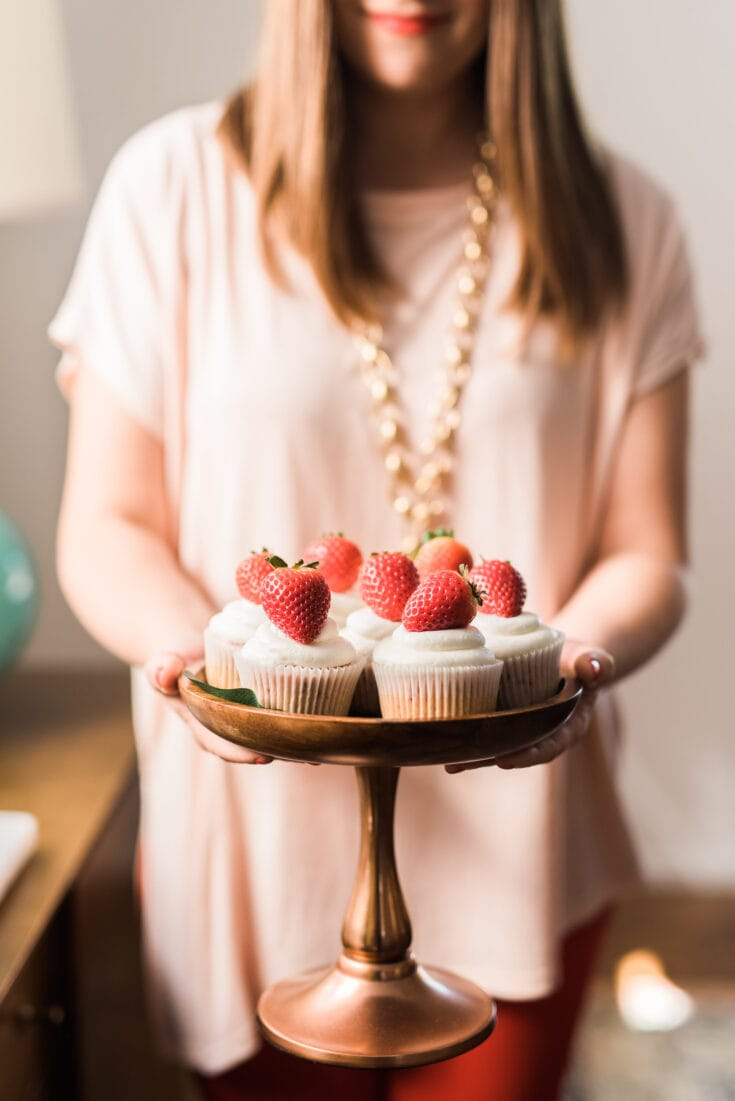 Strawberry Cupcakes with Champagne Buttercream Frosting
