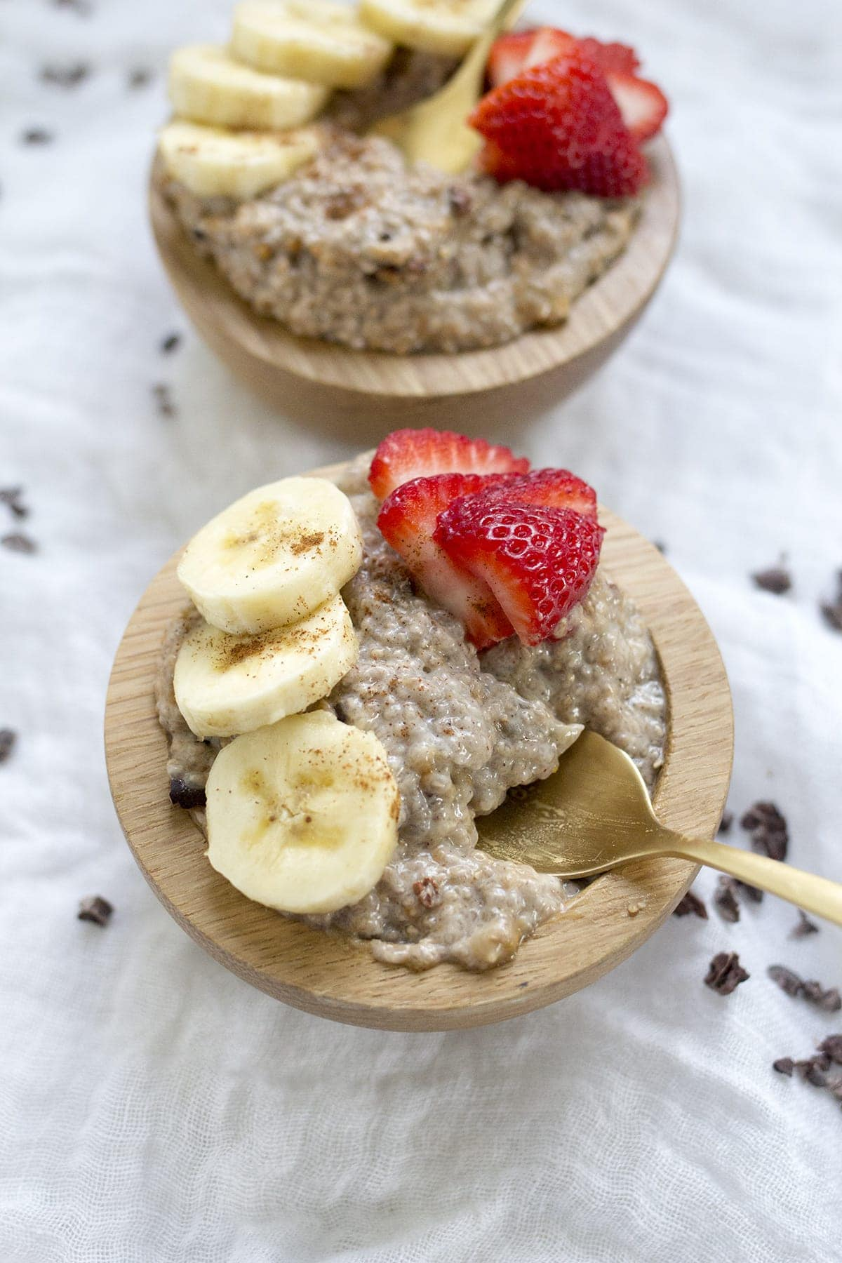 Breakfast Chia Pudding with Almond Butter and Cocoa Nibs