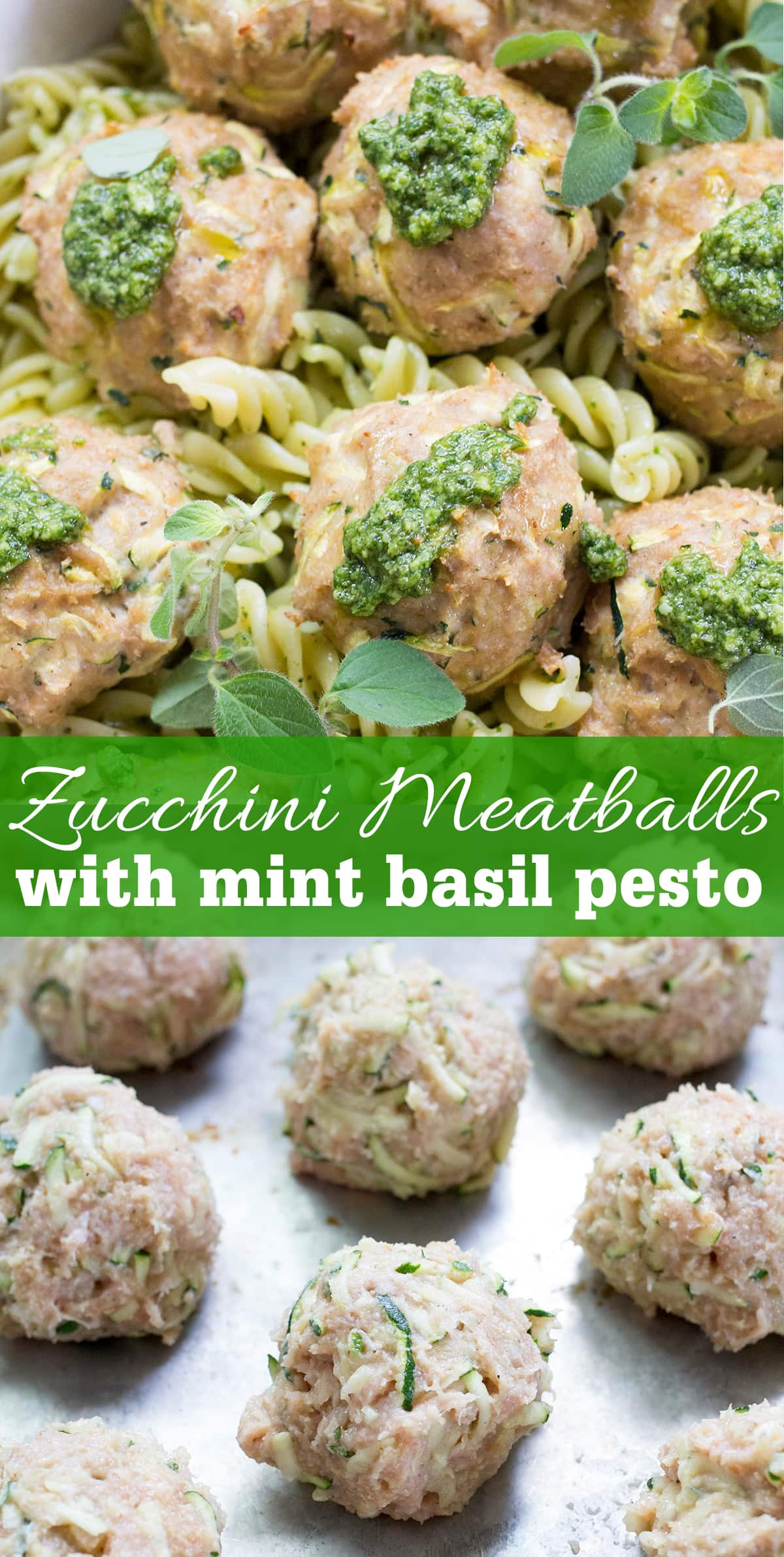 Turkey meatballs made with shredded zucchini and topped with mint basil pesto are a great family dinner recipe to get hidden veggies on the table! Perfect for serving over pasta.