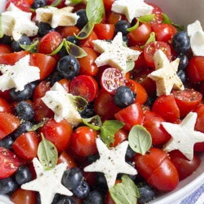 Patriotic Blueberry Tomato Caprese Salad