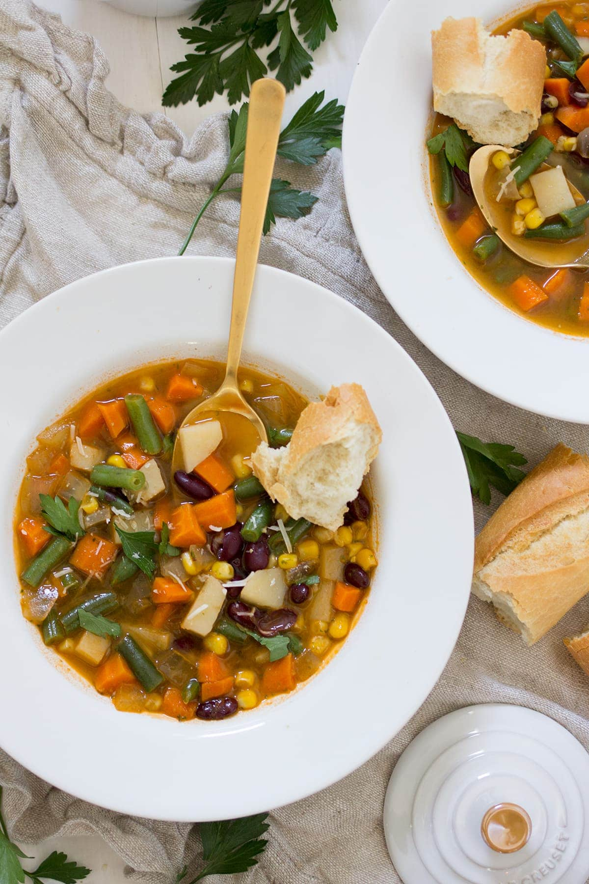Vegetable Tomato Pesto Soup