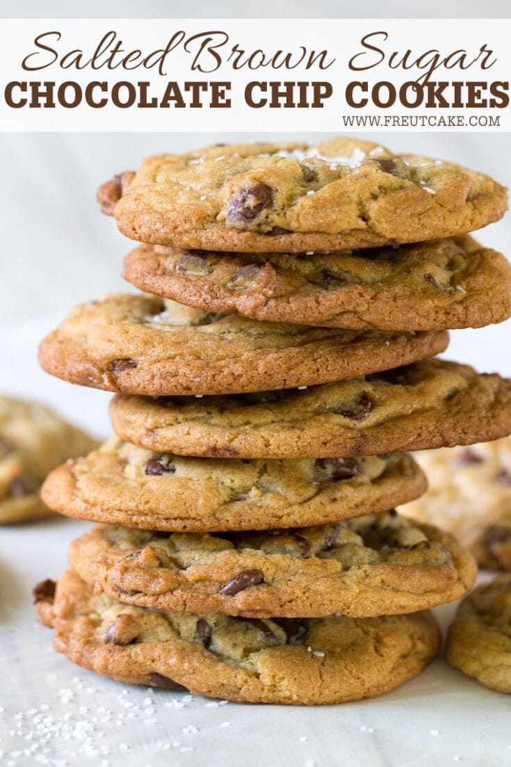 Salted Brown Sugar Chocolate Chip Cookies are chewy on the inside, crisp on the outside and extra flavorful thanks to brown sugar and sea salt. #chocolatechip #cookie #perfectchocolatechipcookie #recipe
