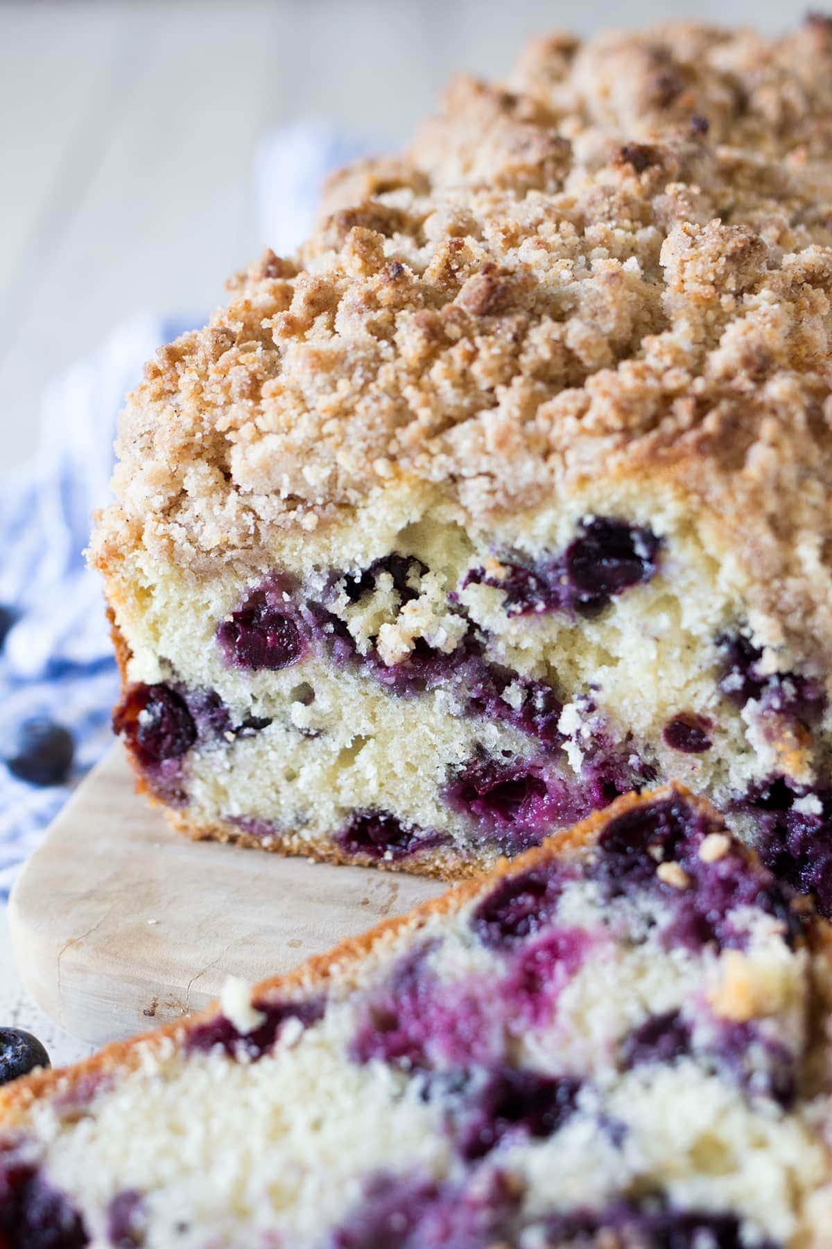 Blueberry Muffin Coffee Cake with a cinnamon crumble topping.