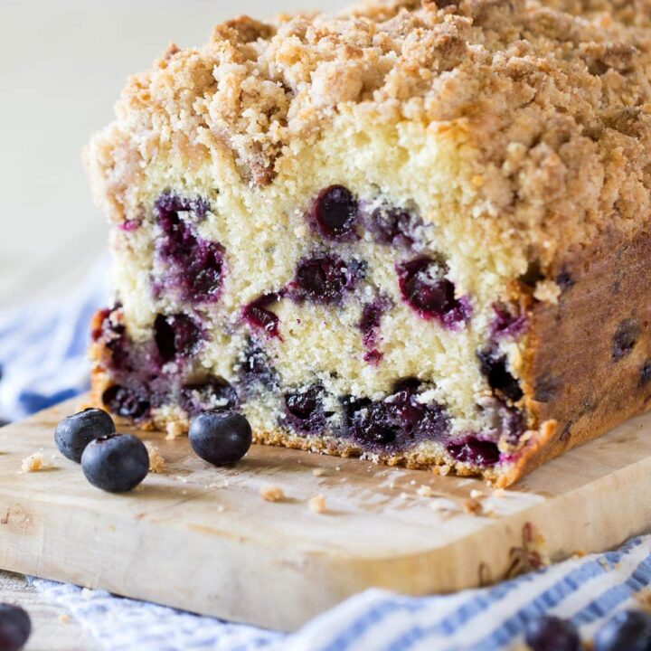 Blueberry Crumb Loaf with a cinnamon crumble topping.