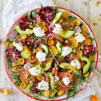 Citrus Salad with Burrata and Marinated Shallot Vinaigrette