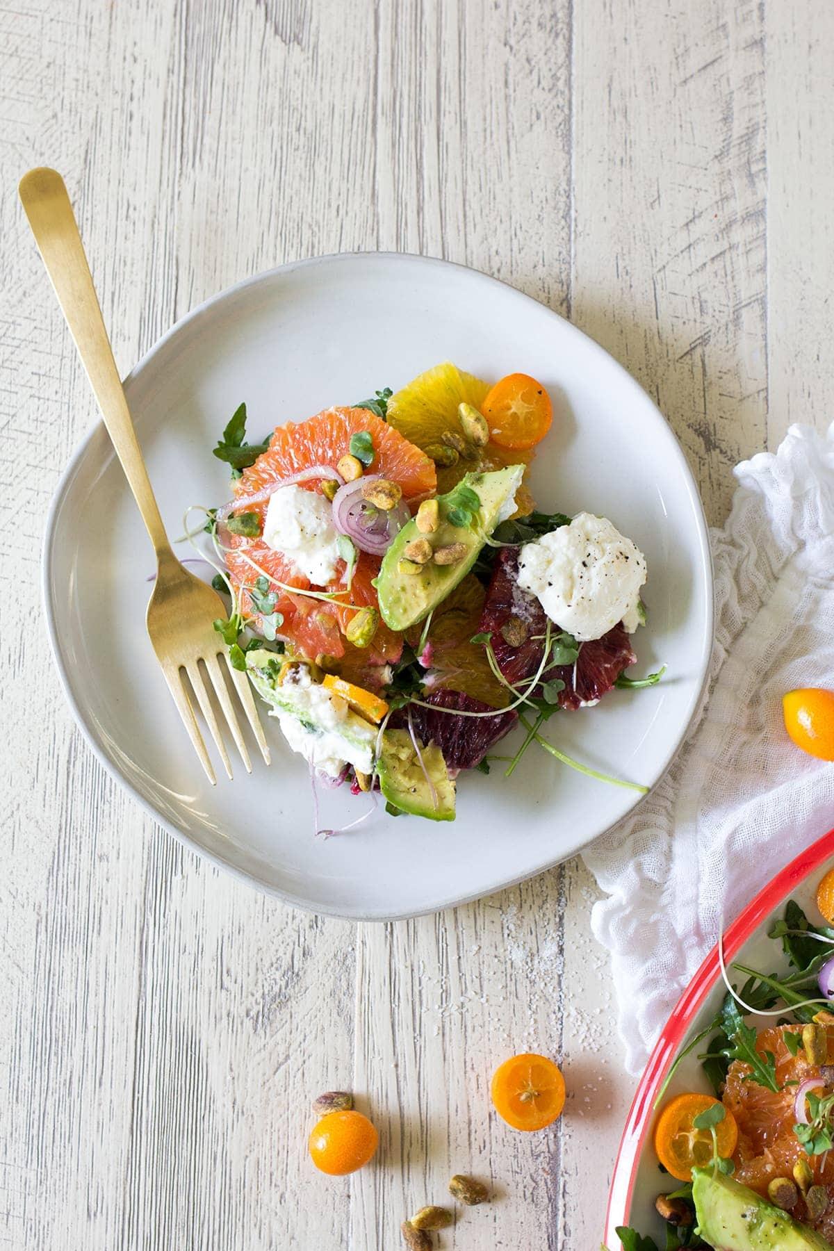 Citrus Salad with Burrata and Marinated Shallot Vinaigrette