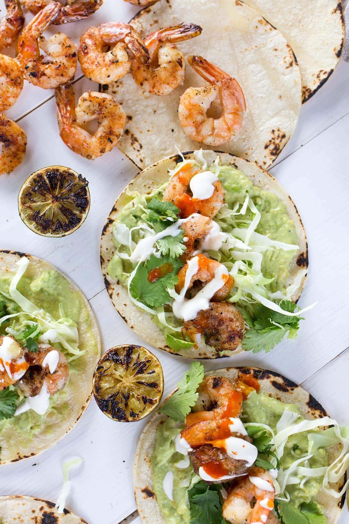 Grilled Shrimp Tacos with Avocado Crema
