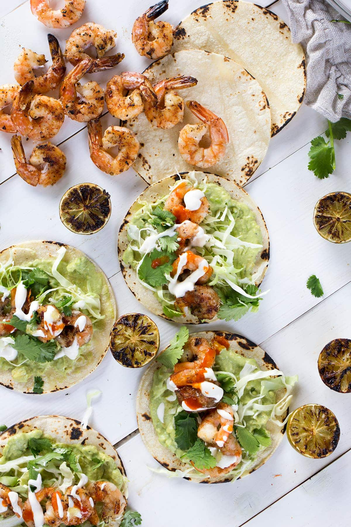 Grilled Shrimp Tacos with Avocado Crema