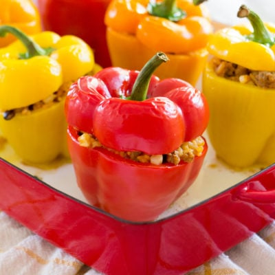 Easy Mexican Stuffed Peppers with Turkey and Rice
