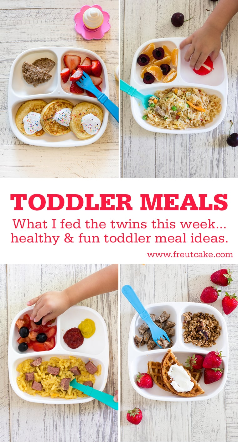 Toddler Meals What I Fed The Twins. A weeks worth of Toddler Meal Ideas that are fun, healthy and easy to make for your kids. #toddlermeals #toddlerlunch #kidmeals #lunchbox #bentobox #toddler #lunch #kidlunchideas #healthykidsmeals #healthykidslunchideas