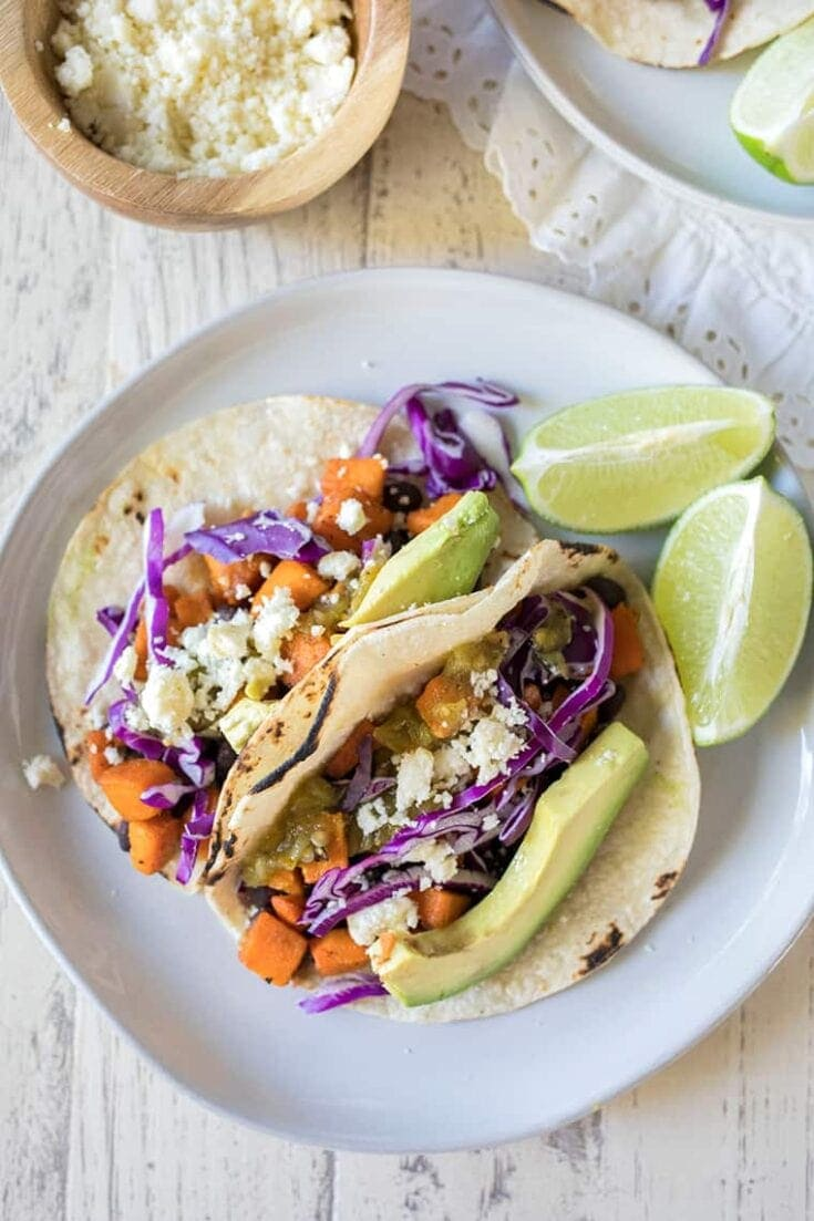 Sweet Potato and Black Bean Tacos are a healthy vegetarian taco recipe perfect for a weeknight dinner. #taco #recipe #vegetarian #plantbased #sweetpotato #blackbean
