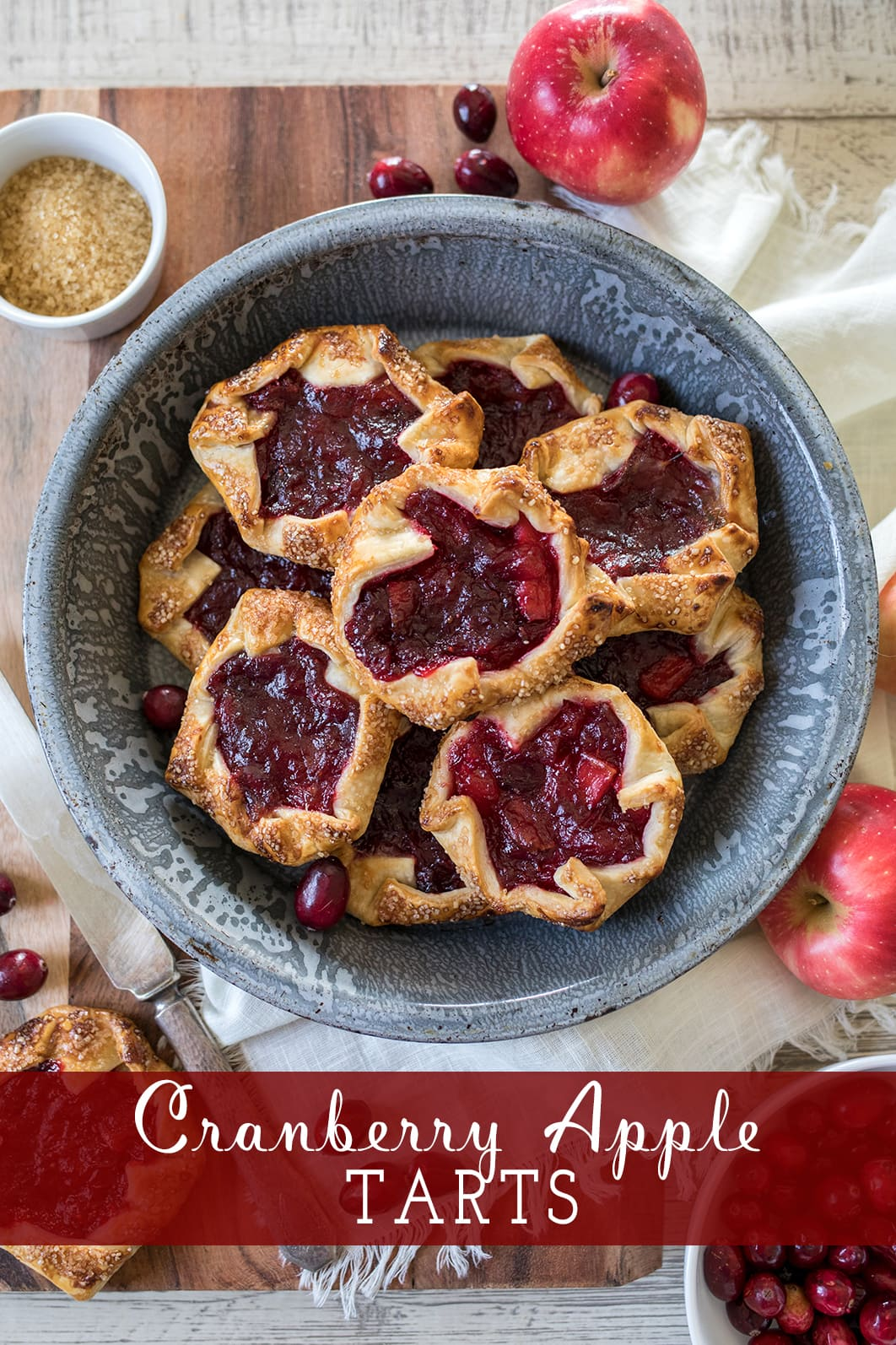 Easy Cranberry Apple Tarts #Thanksgiving #cranberrytart #easypie #thanksgivingpie
