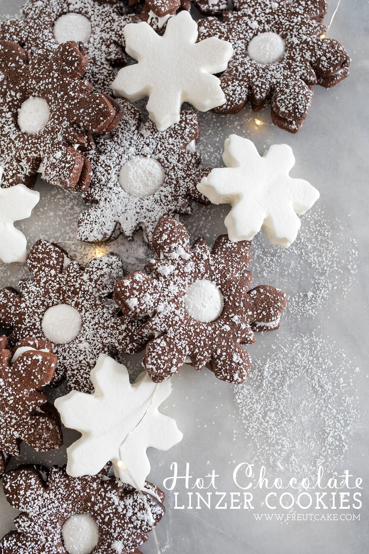 Hot Chocolate Marshmallow Linzer Cookies